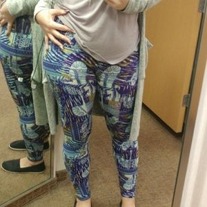 LuLaRoe Pants - [Lularoe]WORN 1X Blue / green OS leggings